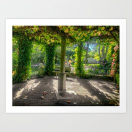 Secret Garden - Looking towards the sun from inside an ivy-covered pagoda. Art Print