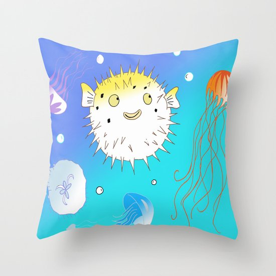 Little Fugu (Blue) Throw Pillow