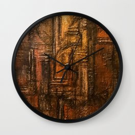 Rich Brown Bronze Heavy Textured Acrylic Painting Wall Clock