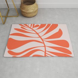 Blush Pink Red Tropical Leaf Rug