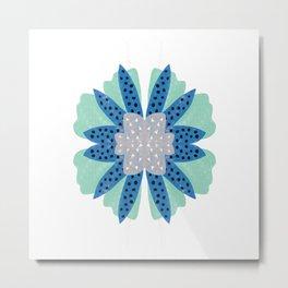 Big flower turquoise & dark blue Metal Print
