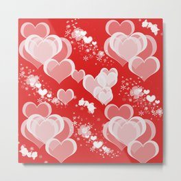 Floating Hearts And Flowers Metal Print