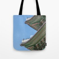 korea Tote Bags featuring Gyeongbokgung Palace Lines_South Korea by Jennifer Stinson