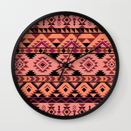 Pink aztec repeated pattern Wall Clock