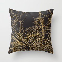 SEOUL SOUTH KOREA GOLD ON BLACK CITY MAP Throw Pillow