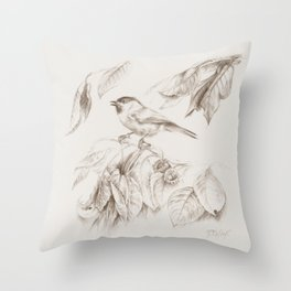 Small bird Tit Throw Pillow