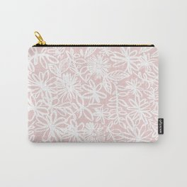 Pink and White Flowers Carry-All Pouch