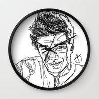 liam payne Wall Clocks featuring Liam Payne by Hollie B