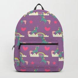 unicorn and rainbow purple Backpack