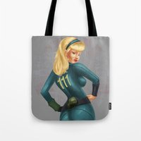 fallout Tote Bags featuring Fallout girl by JuliaTara