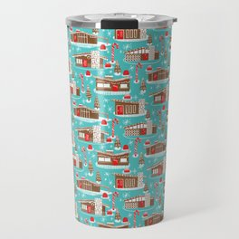 Mid Century Modern Gingerbread Houses Travel Mug