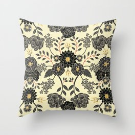 Gray, Black, Cream, Yellow & Red Sophisticated Floral Pattern Throw Pillow