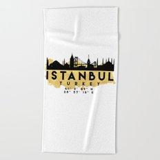 ISTANBUL TURKEY SILHOUETTE SKYLINE MAP ART Beach Towel