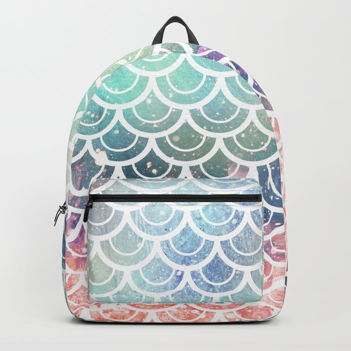 Mermaid Scales Coral and Turquoise Backpack