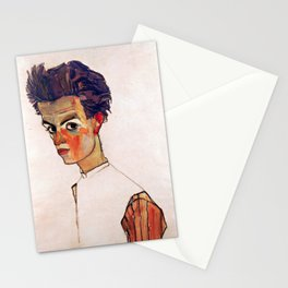 Egon Schiele - Self-Portrait with Striped Shirt 1910 Stationery Cards