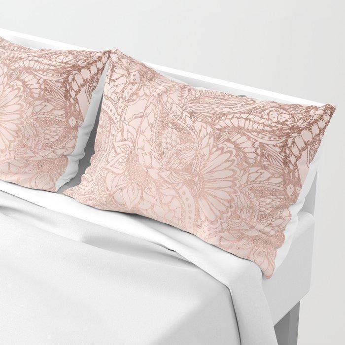 Modern rose gold floral illustration on blush pink Pillow Sham
