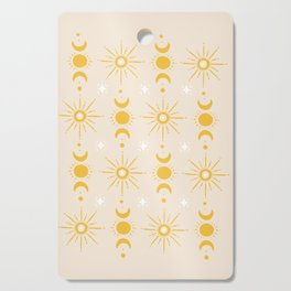 Yellow Sun & Moon Pattern Cutting Board