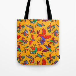 Pattern with Firebirds (on yellow background) Tote Bag