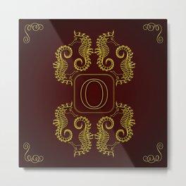 Letter O seahorse monogram Metal Print