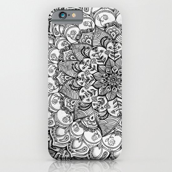 Shades of Grey - mono floral doodle iPhone & iPod Case