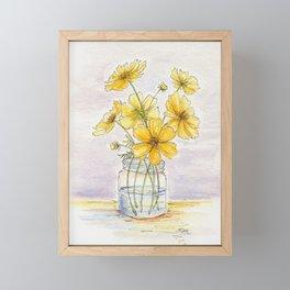 Yellow Cosmos, Still Life Framed Mini Art Print