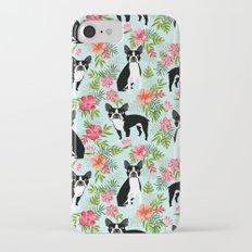 Boston Terrier florals tropical hawaiian print dog breeds custom dog art pet portraits iPhone 7 Slim Case