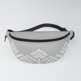 Damask Baroque Part Pattern White on Grey Fanny Pack