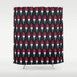 Pop Rockets on Black Shower Curtain