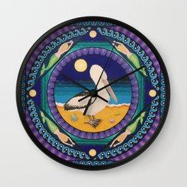 Pelican, Mermaids and Dolphins Mandala, by Soozie Wray Wall Clock