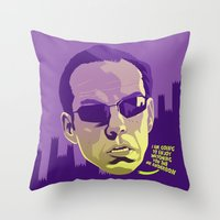 melissa smith Throw Pillows featuring AGENT SMITH by Mike Wrobel