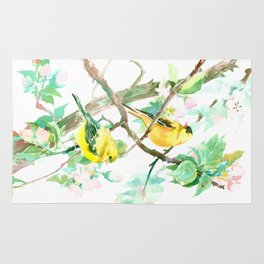 American Goldfinch and Apple Blossom Rug