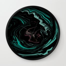 Pink Teal and Black Abstract Art, Digital Fluid Artwork Wall Clock