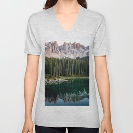 Relaxing Lake Photography with Mountains reflection Unisex V-Neck