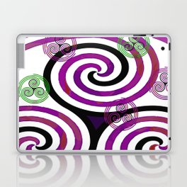 Modern Celtic Plum and Green Triple Spiral Pattern Laptop & iPad Skin
