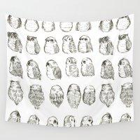 owls Wall Tapestries featuring Owls by Alexandra Duma D.