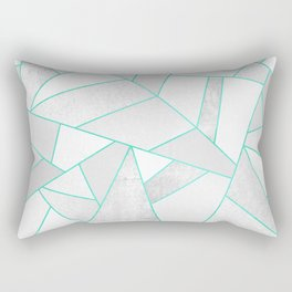 White Stone with Turquoise Lines Rectangular Pillow