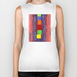 Colorful piled Cubes within free Painting Biker Tank
