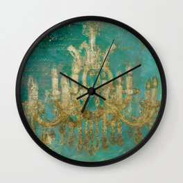 Gold and Peacock Chandelier Wall Clock