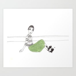 girl on the floor Art Print
