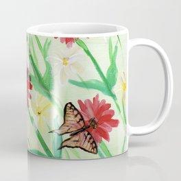 Daisies Butterflies Katydid Red Green and White Coffee Mug