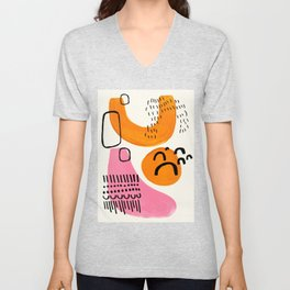 Vintage Abstract Mid Century Modern Playful Pink Yellow Ochre Organic Shapes Unisex V-Neck