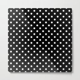 Polkadot - Black White Metal Print