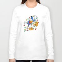 donald duck Long Sleeve T-shirts featuring Funny Angry Donald Duck by Yuliya L