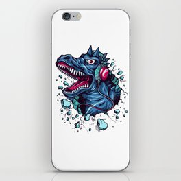 Dino with Headphones BLUE Orient iPhone Skin