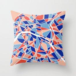 Paris Mosaic Map Throw Pillow