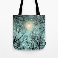 fault Tote Bags featuring Nature Blazes Before Your Eyes (Mint Embers) by soaring anchor designs