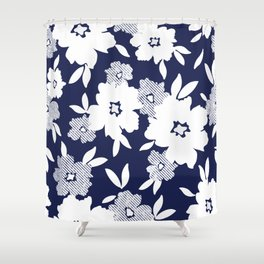 Monochromatic Blue and White Florals Shower Curtain