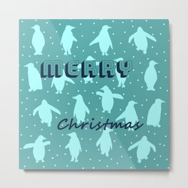 Merry Christmas from the penguins I Metal Print