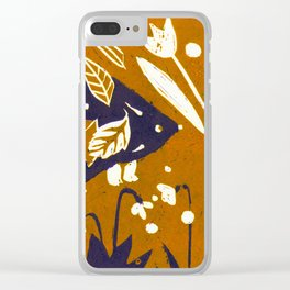 Hedgehog in Autumn Woods - Golden Orange Palette Clear iPhone Case