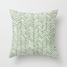 Boho, Abstract, Herringbone Pattern, Sage Green and White Throw Pillow